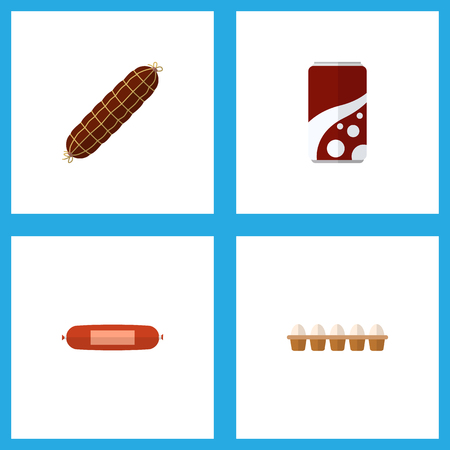 Icon flat food set of soda, bratwurst, egg and other vector objects. Also includes sausage, bratwurst, fizzy elements. Illustration