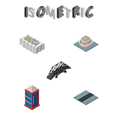 Isometric city set of plants, telephone booth, flower decoration and other vector objects. Also includes plants, decoration, bridge elements.
