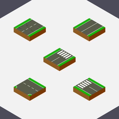 Isometric way set of flat, foot-slogger, down and other vector objects. Also includes road, pedestrian, plane elements. Illustration