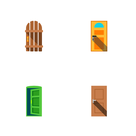 Icon flat door set of gate, entry, approach and other vector objects. Also includes door, exit, approach elements.