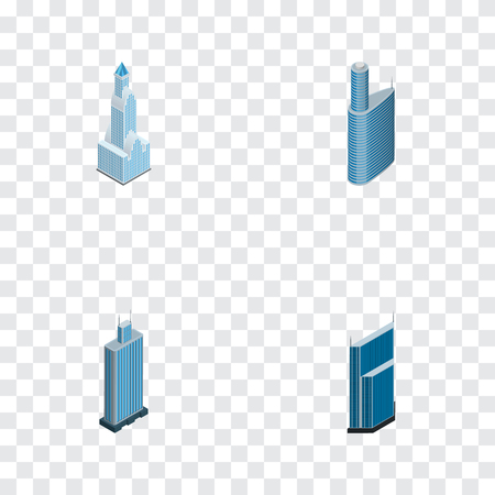 Isometric construction set of skyscraper, urban, exterior and other vector objects. Also includes skyscraper, urban, building elements.