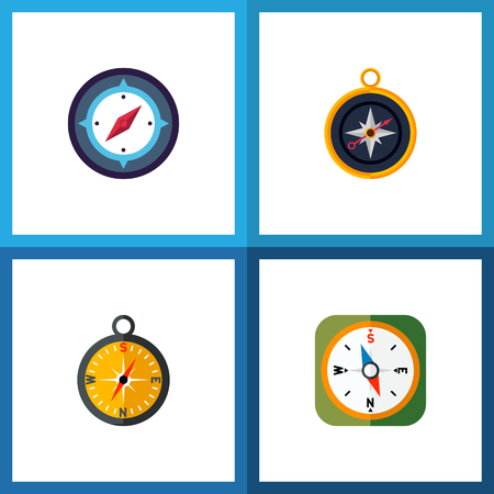 Icon flat orientation set of measurement dividers, compass, geography and other vector objects. Also includes compass, orientation, navigation elements.