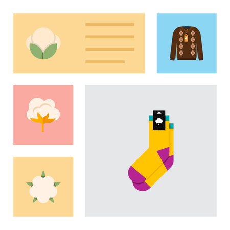 Icon flat fiber set of fluffy, cotton, sweater and other vector objects. Also includes cotton, flower, half-hose elements.