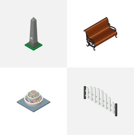 Isometric architecture set of wooden fence, garden rest, washington monument and other vector objects. Also includes barricade, flowers, plants elements. Illusztráció