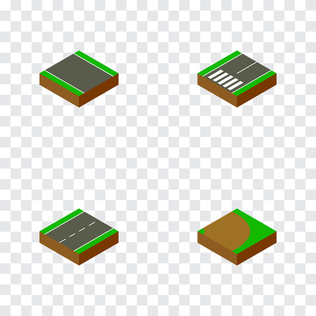 Isometric road set of unilateral, footer, single-lane and other  objects. Also includes road, driveway, strip elements. Banque d'images