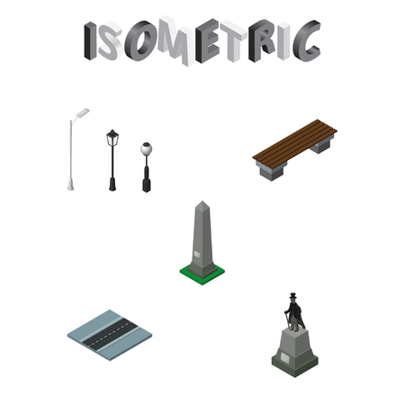 Isometric city set of city lights, seat, road and other  objects. Also includes monument, way, lanterns elements.