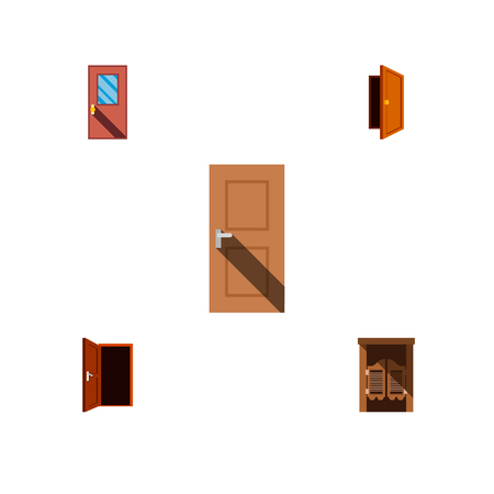 Icon flat door set of frame, door, exit and other  objects. Also includes door, exit, entrance elements. Banque d'images