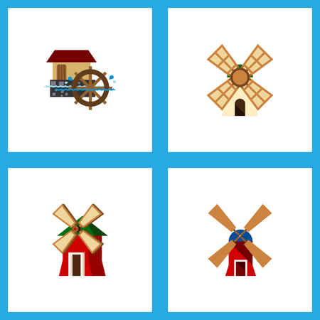 Icon flat mill set of power, watermill, wind energy and other  objects. Also includes energy, mill, wind elements.