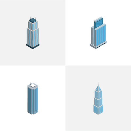 Isometric construction set of building, residential, business center and other  objects. Also includes skyscraper, apartment, tower elements. Stock Photo