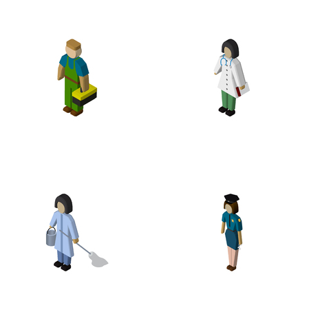 Isometric person set of cleaner, officer, medic and other  objects. Also includes worker, medic, female elements.
