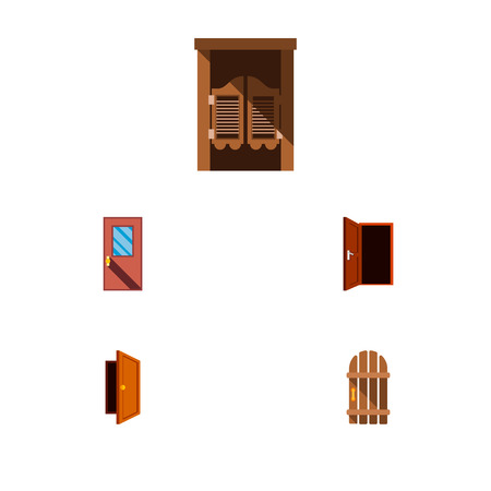 Icon flat door set of gate, entrance, exit and other  objects. Also includes door, wooden, exit elements. Stok Fotoğraf