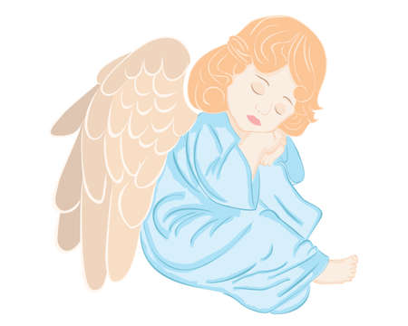 illustration of cute angel on white background   Vector
