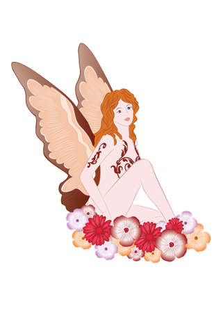 fay: illustration of fairy with flowers on white background