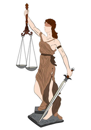 justness: illustration of goddess of justice on white background  Illustration
