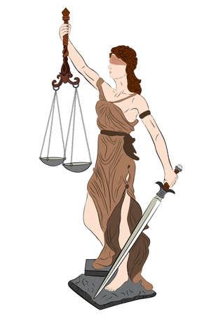 fairness: illustration of goddess of justice on white background  Illustration