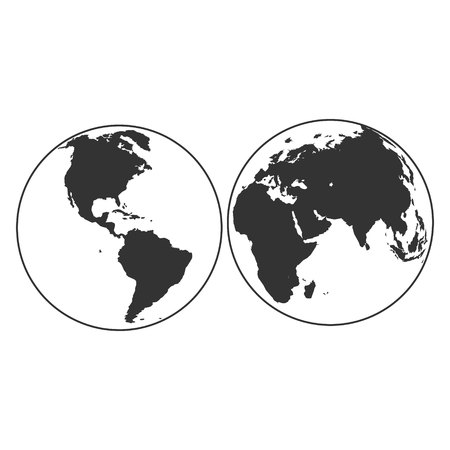 set of planet earth globes with land silhouette map on water background 3d vector illustration