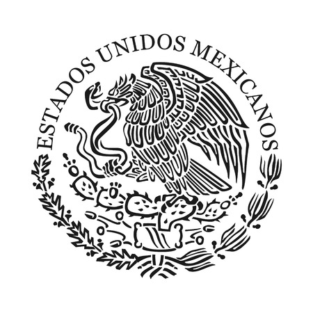 Symbol of Mexico. Black and white emblem 向量圖像