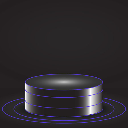 Pedestal or podium for display,Platform  with glow light . Vector illustration