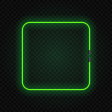 square neon glowing lamp frame on transparent background. Иллюстрация