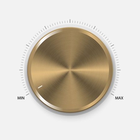 Dial Knob. Realistic Gold Button With Circular Processing. Volume settings, sound control