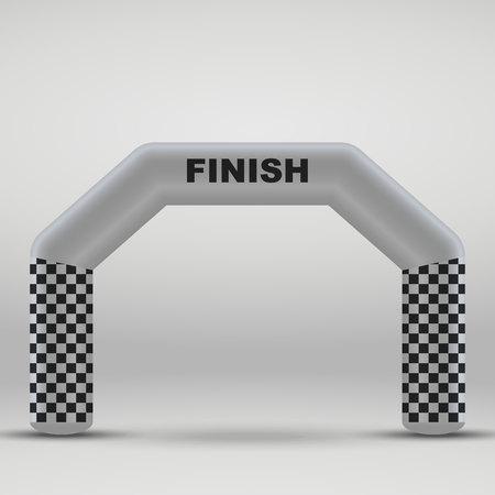 3D Inflatable finish line arch. Vector illustration Illustration