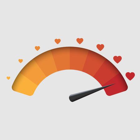 Love meter, valentines day background. vector illustration