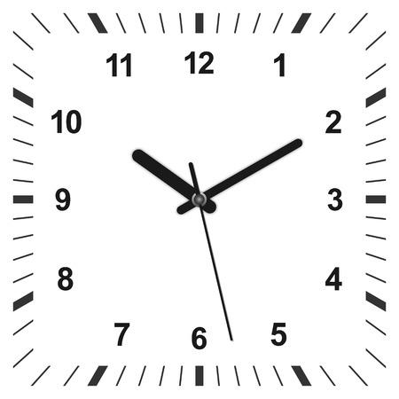 3d realistyczny zegar w kształcie kwadratu. Ilustracji wektorowych Ilustracje wektorowe
