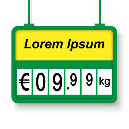 3d realistic supermarket price label. Vector illustration Illustration