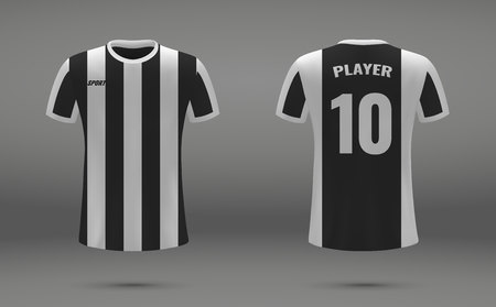 Realistic soccer jersey, t-shirt of Juventus, uniform template for football Stock Illustratie