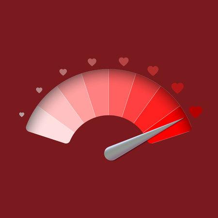 Love meter, valentines day background. vector illustration Illustration