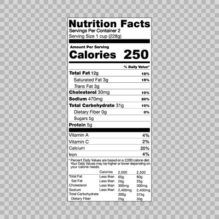 nutrition facts information template for food label royalty free