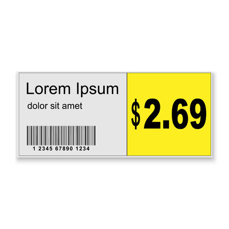 3d realistic Supermarket price sticker with barcode