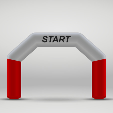 3D Inflatable start line arch. Vector illustration