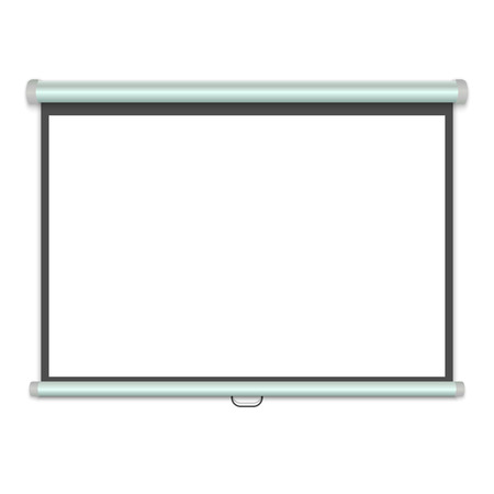 3d realistic Projection screen, Presentation whiteboard. Vector illustration 矢量图像