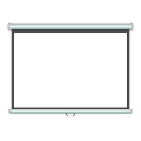 3d realistic Projection screen, Presentation whiteboard. Vector illustration Vettoriali