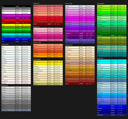 Mega set of color shades. Color shade chart