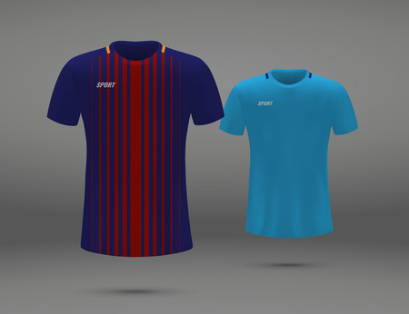 Realistic soccer jersey, t-shirt of Barcelona, uniform template for football