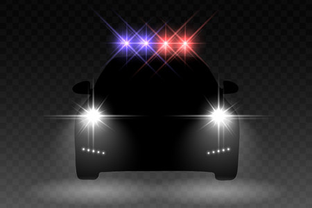 Car light flash effect with with light flasher atop of a police car on transparent background. Vector