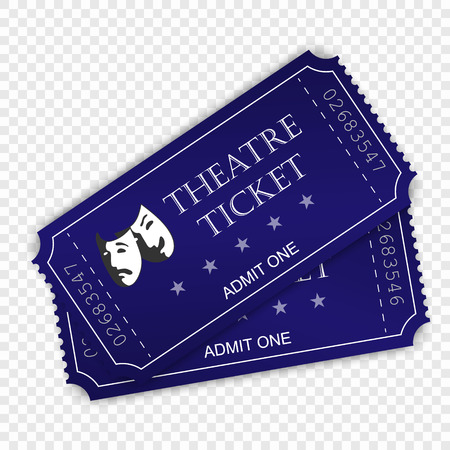 Theatre ticket isolated on transparent background.