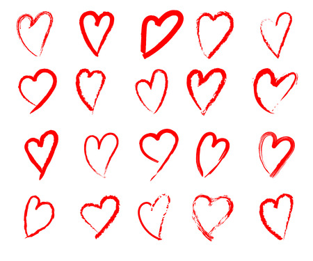 set of  hand drawn heart isolated. vector icon sketch for Valentines day design. Heart drawing marker on white background
