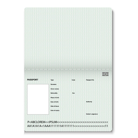 realistic passport blank pages for stamps. empty passport with watermark.  Ilustrace
