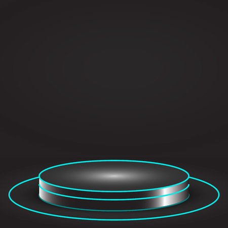 Pedestal or podium for display,Platform  with glow light . Vector illustration