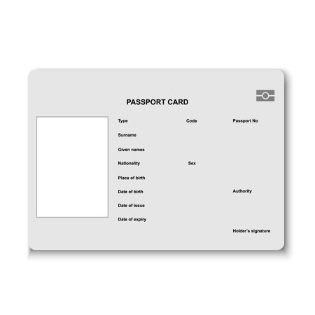 Blank Passport card. Vector illustration isolated on white background Çizim