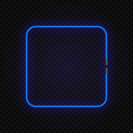 square neon glowing lamp frame on transparent background. Illustration