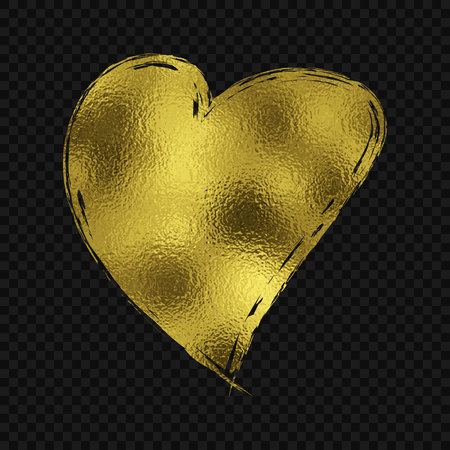 Gold glitter heart for premium Valentines day card