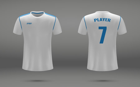 Realistic soccer jersey, t-shirt of Real Madrid, uniform template for football
