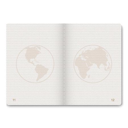 Pagine vuote passaporto realistico per francobolli. passaporto vuoto con filigrana. Archivio Fotografico - 97229363