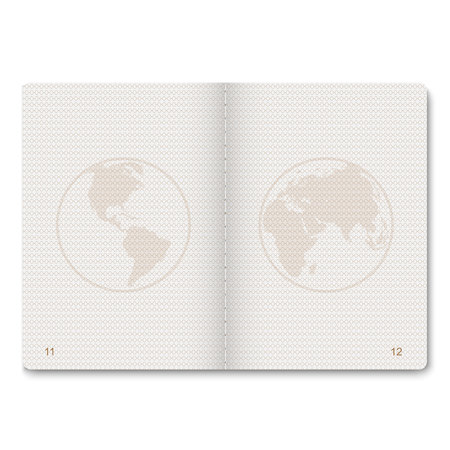 realistic passport blank pages for stamps. empty passport with watermark.  Çizim
