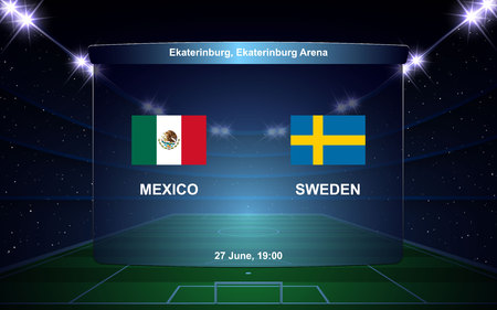Mexico vs Sweden football scoreboard broadcast graphic soccer template