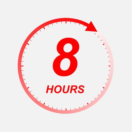 Icono de 8 horas. Ilustración vectorial Ilustración de vector